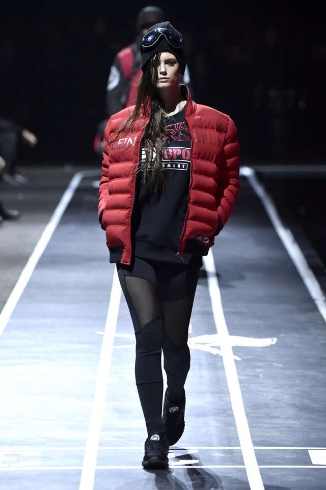 A model walks the runway at the Plein Sport show during Milan Men's Fashion Week Fall/Winter 2017/18 on January 14, 2017 in Milan, Italy.