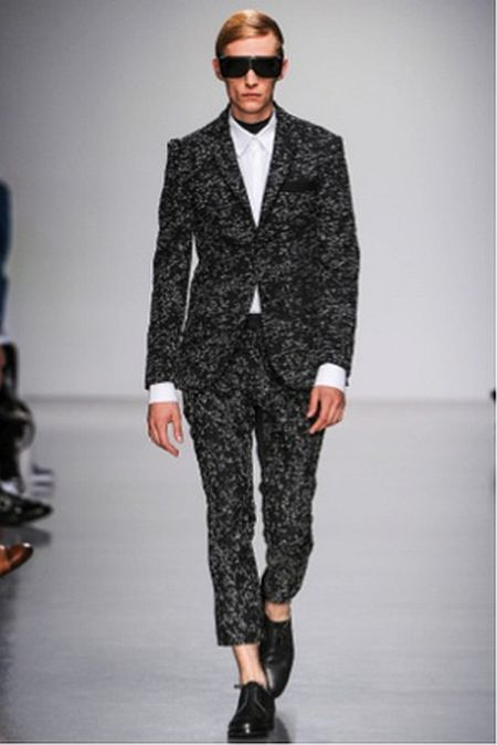 Agi and Sam dark printed suit.