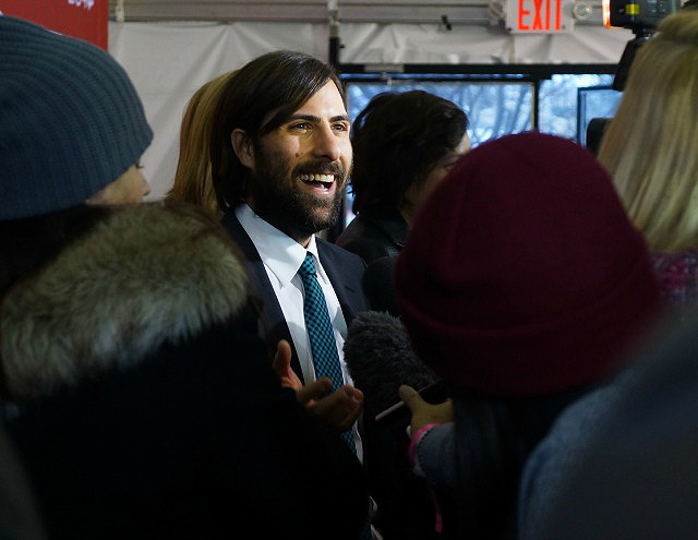 While Jason Schwartzman looked smart in his suit and tie, it was as if he forgot he was walking the premiere line in Park City instead of Los Angeles.