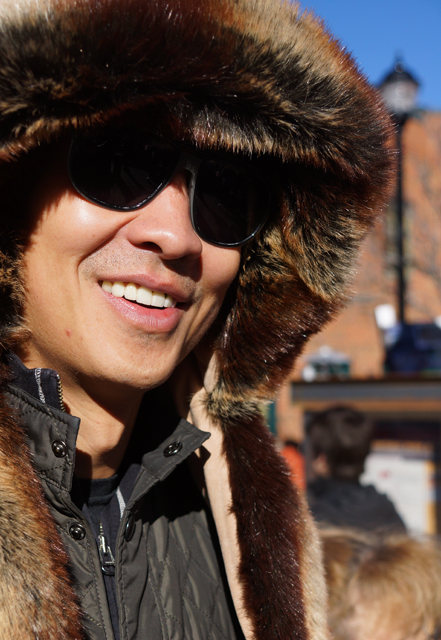Fur hood.
