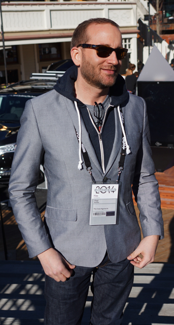 Human Rights Campaign President Chad Griffin opted for the dated but popular hoodie with a blazer.  He is here to promote The Case Against 8, the documentary that looks at the battle over marriage equality in California.