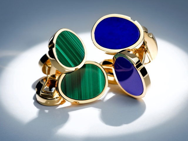 Boutons de manchettes en or jaune / yellow gold cufflinks, lapis lazuli or malachite