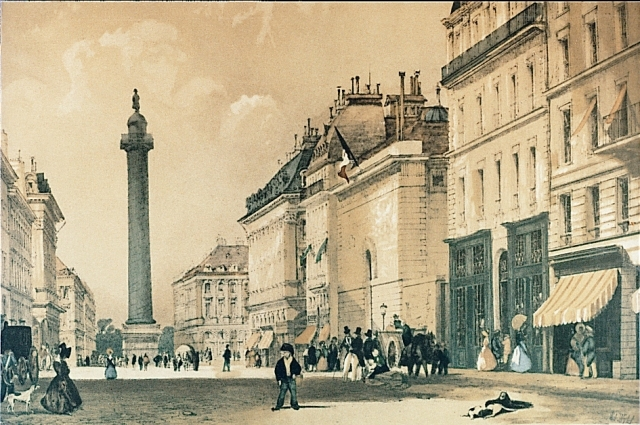 A print from the Mellerio dits Meller collections: 1837, view of Place Vendôme and Napoleon's victory column from Rue de la Paix, Paris.