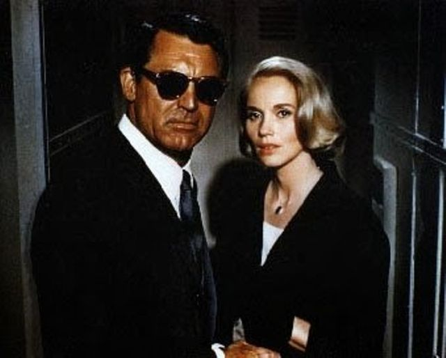Cary Grant and Eva Marie Saint trying to remain incognito in Hitchcock's 1959 'North by Northwest'