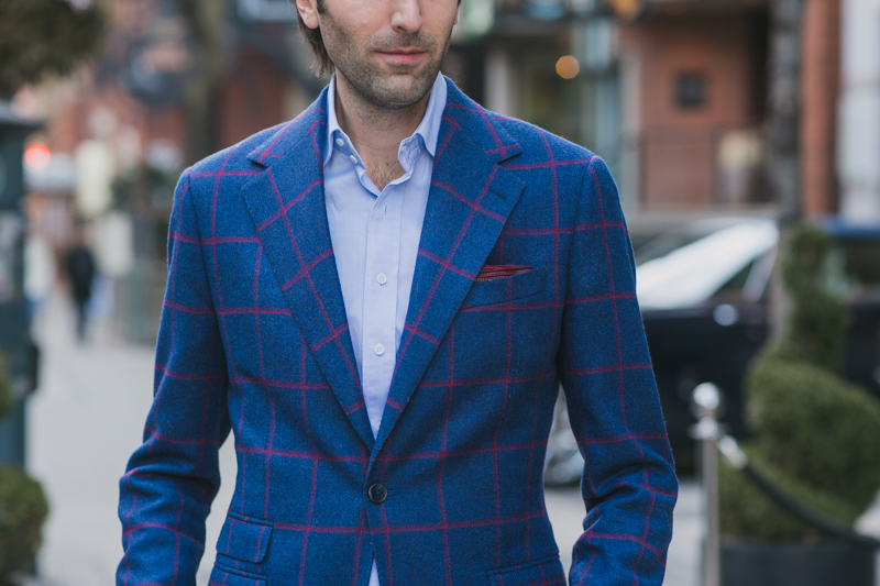 Garrison Bespoke Blue&Red striped JSuit