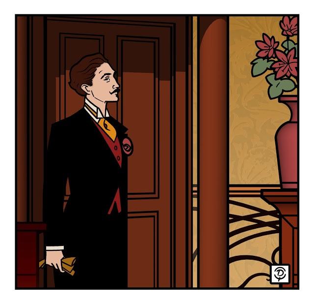Comte Robert de Montesquiou leaving the room as in a contemporary artist rendering by Delius