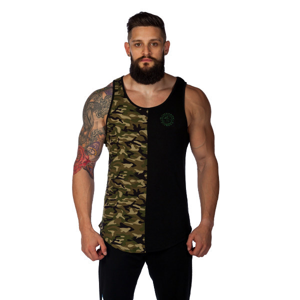 Gymshark's black/camo tank was a hit at the Arnold Classic.