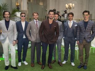 12th  June  2016  LCM s/s 2017: Chester Barrie - presentation held at The Palm Court, The Waldorf, London.  Here: David Gandy wearing Chester Barrie  Credit: Justin Goff/GoffPhotos.com