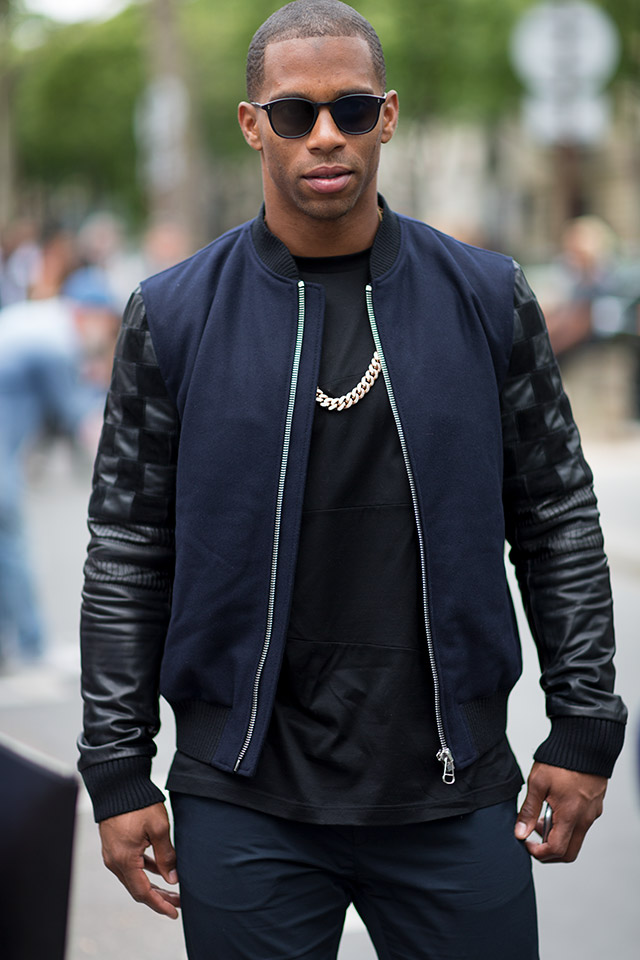 This guy, spotted in Paris looks sleek in his two-tone bomber jacket. Photo courtesy of Darrel Hunter.