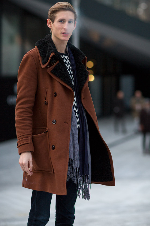 Loving these layers spotted in Milan, not to mention the copper jacket! Photo courtesy of Darrel Hunter.