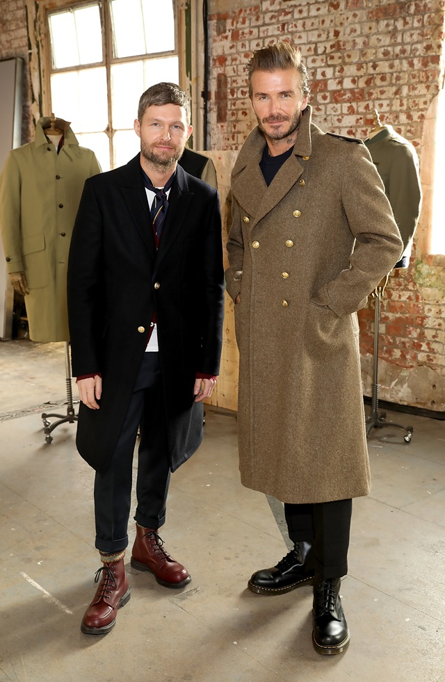 Daniel Kearns and David Beckham at the Kent & Curwen show.