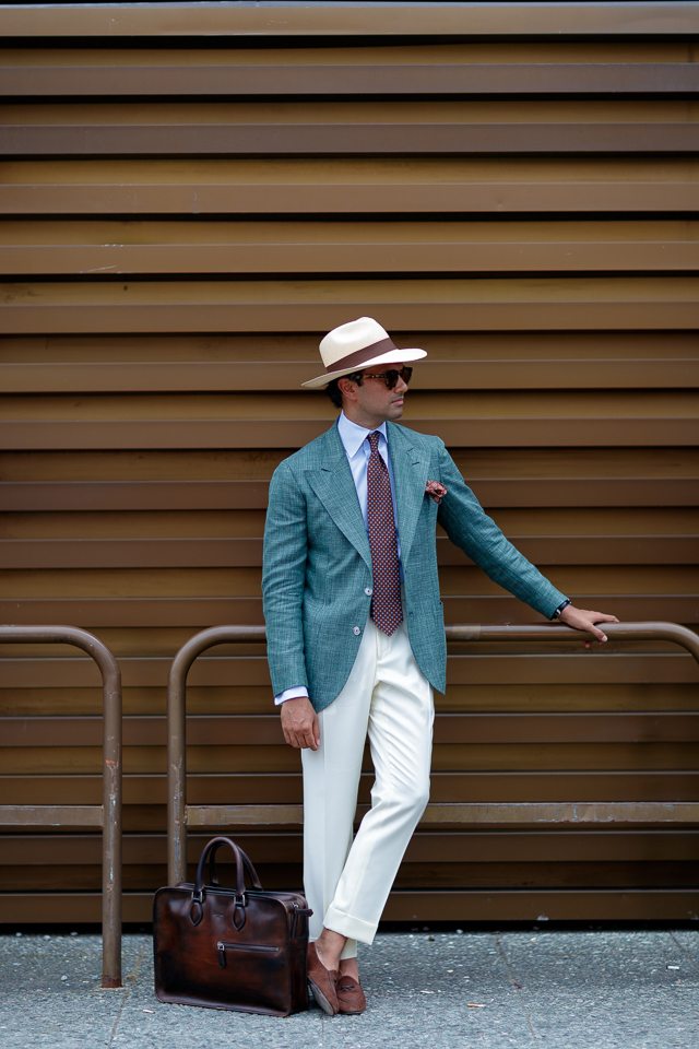 Look sharp with a pair of white trousers.